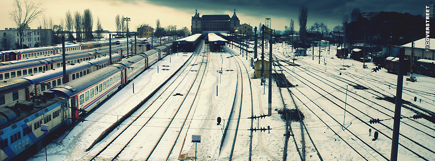 Snowy Train Station  Facebook Cover