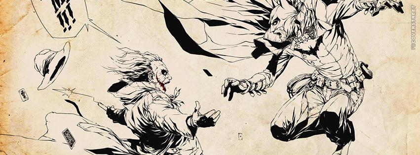 Batman and Joker Comic Drawing  Facebook Cover